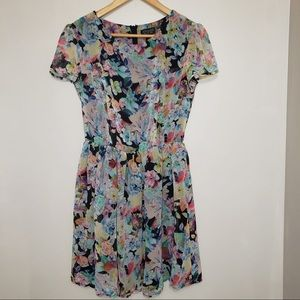 Topshop Floral Short Sleeve Flowy Ruffle Dress